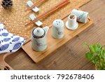 small fresh ceramic hand... | Shutterstock . vector #792678406