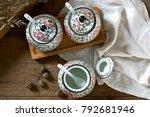 japanese hand painted ceramic...   Shutterstock . vector #792681946