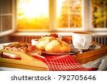 breakfast and background of... | Shutterstock . vector #792705646