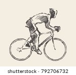 hand drawn bicyclist rider man  ... | Shutterstock .eps vector #792706732