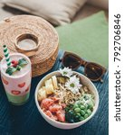 poke bowl with raw fish and... | Shutterstock . vector #792706846