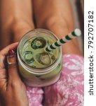 iced matcha latte | Shutterstock . vector #792707182