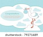 baby boy announcement card.... | Shutterstock .eps vector #79271689
