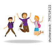 happy students jumping on white ... | Shutterstock .eps vector #792719122