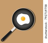 frying pan with scrambled egg.... | Shutterstock .eps vector #792719758