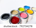 eight colors of paint ... | Shutterstock . vector #792734278