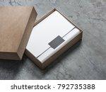 kraft brown box package mockup... | Shutterstock . vector #792735388