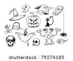 set with halloween doodles ...   Shutterstock .eps vector #79274185