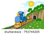 easter steam locomotive wagon... | Shutterstock .eps vector #792744205