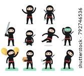 cute cartoon ninja in different ... | Shutterstock .eps vector #792746536