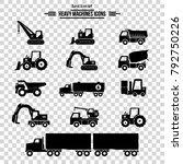 icon set  heavy duty machines  | Shutterstock .eps vector #792750226