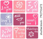nine romantic stickers with