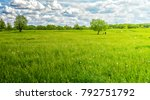 landscape of a green meadow and ... | Shutterstock . vector #792751792