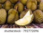 yellow durian in side mon thong ... | Shutterstock . vector #792772096