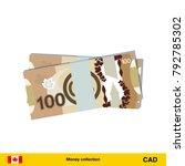 100 canadian dollar banknote.... | Shutterstock .eps vector #792785302