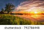 vivid spring sunrise. spring... | Shutterstock . vector #792786448
