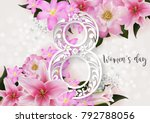 8 march. with realistic of... | Shutterstock .eps vector #792788056