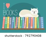 i love books. books on shelf...   Shutterstock .eps vector #792790408