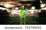 kids   soccer champion. boy... | Shutterstock . vector #792790552