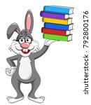 bunny rabbit wearing glasses... | Shutterstock .eps vector #792800176