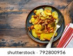 potato slices fried with...   Shutterstock . vector #792800956