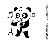 singing panda silhouette... | Shutterstock .eps vector #792804958