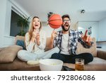 couple is watching basketball... | Shutterstock . vector #792806086