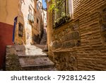 medieval cobbled and stepped... | Shutterstock . vector #792812425