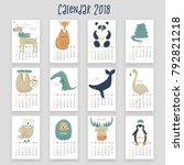 calendar with animals  2018... | Shutterstock .eps vector #792821218