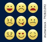 set of smile icons. emoji.... | Shutterstock .eps vector #792821392