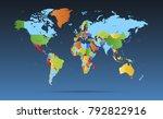 color world map vector | Shutterstock .eps vector #792822916