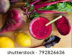 red beet juice in a glass on a... | Shutterstock . vector #792826636