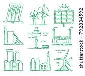 collection of renewable energy... | Shutterstock . vector #792834592