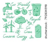 collection of ecology icons and ... | Shutterstock . vector #792834598