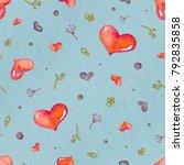seamless valentine pattern with ... | Shutterstock . vector #792835858