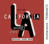 sport  los angeles typography ... | Shutterstock .eps vector #792844672