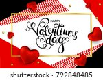 happy valentines day card  with ... | Shutterstock .eps vector #792848485