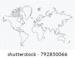 world map with country borders  ... | Shutterstock .eps vector #792850066