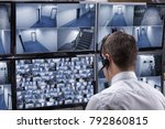 rear view of a male operator...   Shutterstock . vector #792860815
