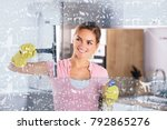 young happy woman wearing... | Shutterstock . vector #792865276