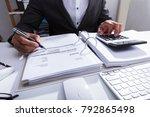 close up of a businessperson's... | Shutterstock . vector #792865498