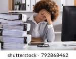 stressful afro american... | Shutterstock . vector #792868462
