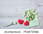 snowdrops in an envelope and... | Shutterstock . vector #792873586