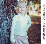 child walking in the park. | Shutterstock . vector #792874678