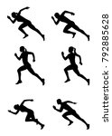 silhouettes of sprinters set on ... | Shutterstock .eps vector #792885628