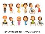 set of disabled kids on... | Shutterstock . vector #792893446