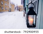 Lamp With Candle On The Street...