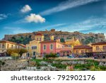 plaka athens with the rock of...   Shutterstock . vector #792902176