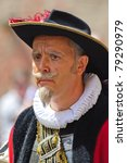 "Small photo of ROTHENBURG OB DER TAUBER, GERMANY - JUNE 12: performer of the annual medieval parade ""Meistertrunk"", dressed in historical costume as alderman at June 12, 2011 in Rothenburg ob der Tauber, Germany"