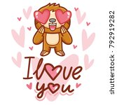 cute sloth character with... | Shutterstock .eps vector #792919282